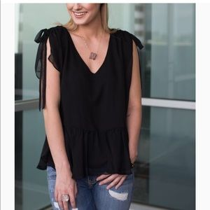 NWT Amour vert Gini black sheer top size small